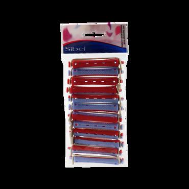 Sibel BI-Color Bigoudis Permanentes Courts 9mm Bleu-Rouge 12 pcs.